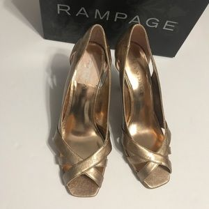 Rampage Gold Cut-Out Heeled Sandals